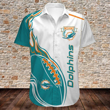 Load image into Gallery viewer, Miami Dolphins Button Up Tee Shirt