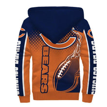 Load image into Gallery viewer, Chicago Bears Fleece Jacket Printed Ball Flame 3D