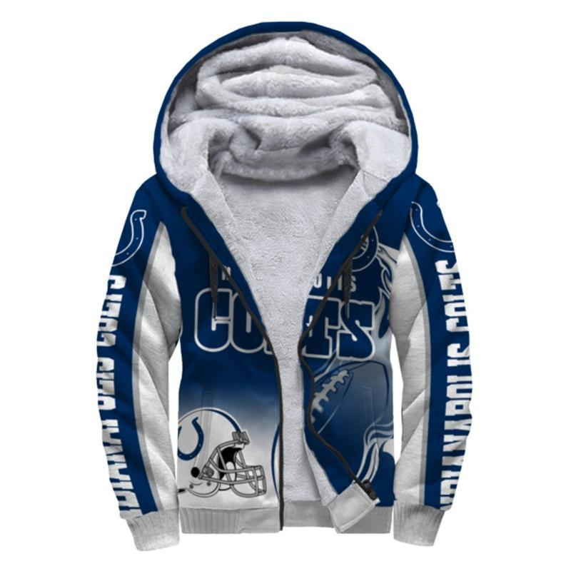 Indianapolis Colts Fleece Jacket Printed Ball Flame 3D