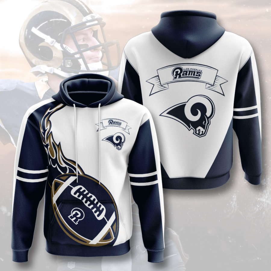 Los Angeles Rams 3D Printed Hooded Pocket Pullover Hoodie