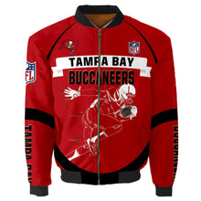 Load image into Gallery viewer, Tampa Bay Buccaneers Bomber Jacket Graphic Player Running