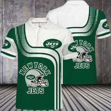 Load image into Gallery viewer, New York Jets Button Up Polo Shirt