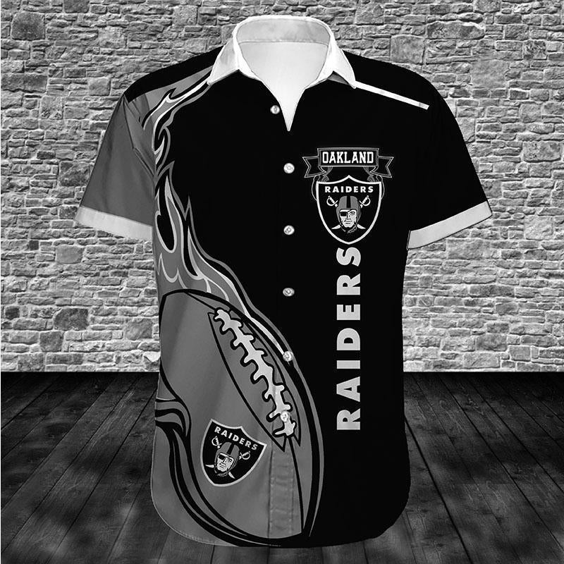 Oakland Raiders Button Up Tee Shirt