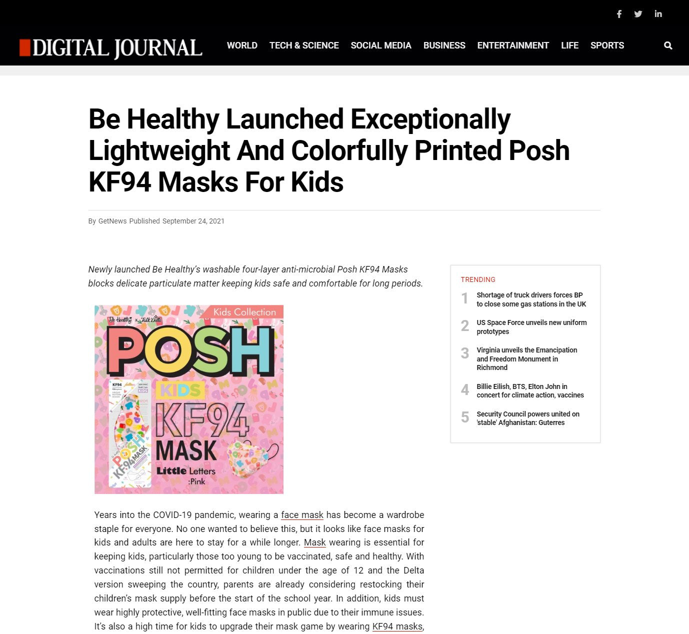 Be Healthy Launched Exceptionally Lightweight And Colorfully Printed Posh KF94 Masks For Kids