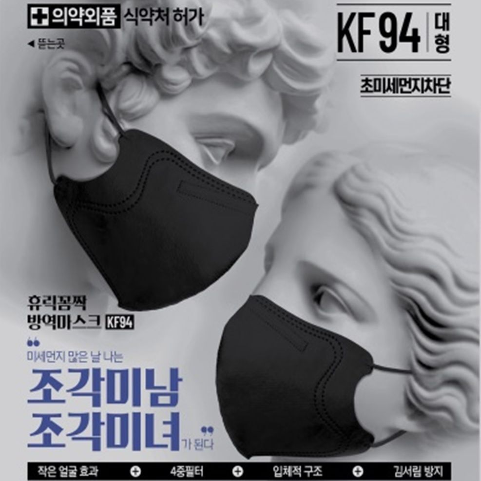 Blue KF94 2D Mask / AKA Greek God & Goddess (BLACK - Large)