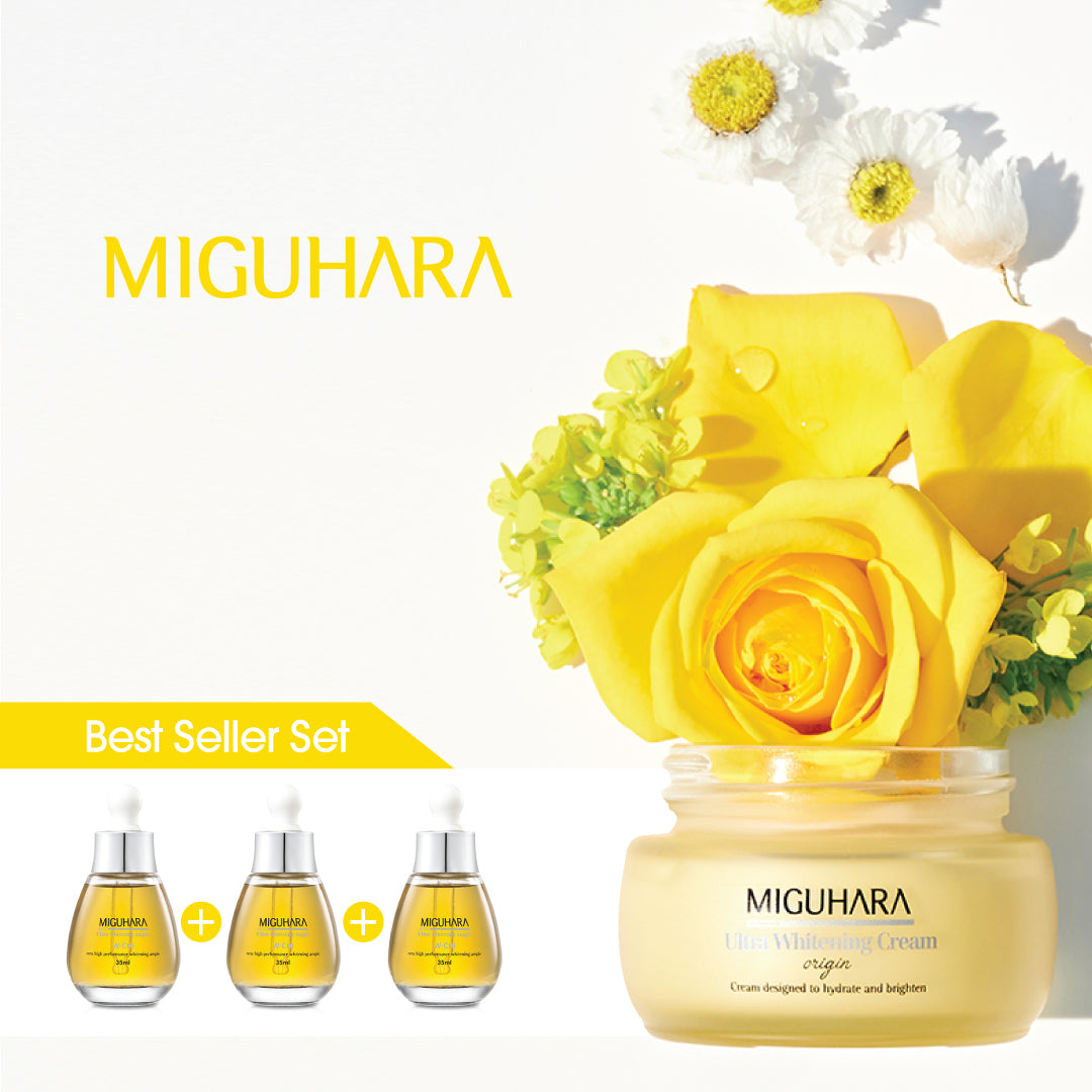 MIGUHARA Best Seller Set - Ultra Whitening Ample 35ml / 3pcs + Ultra Whitening Cream 50ml - Be Healthy