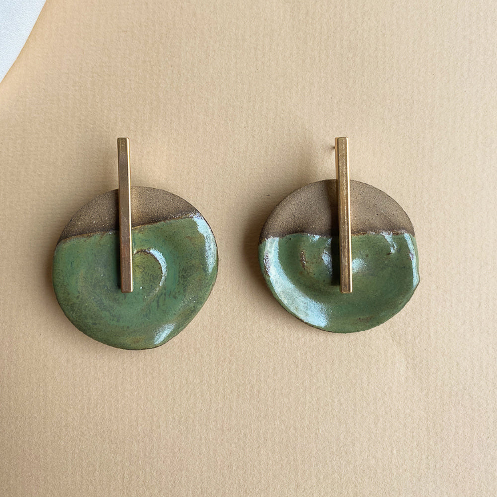 Green & Gold Drop Earrings (Unique Piece. Only 1 Available)