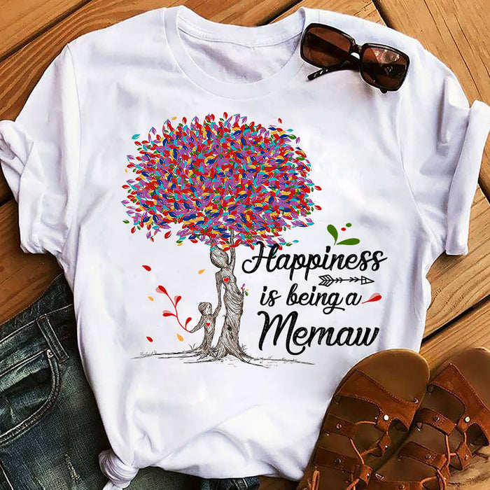 Colorful Tree Life Happiness Is Being A Memaw Mothers Day Grandma Graphic Unisex T Shirt, Sweatshirt, Hoodie Size S - 5XL