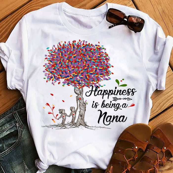 Colorful Tree Life Happiness Is Being A Nana Mothers Day Grandma Graphic Unisex T Shirt, Sweatshirt, Hoodie Size S - 5XL