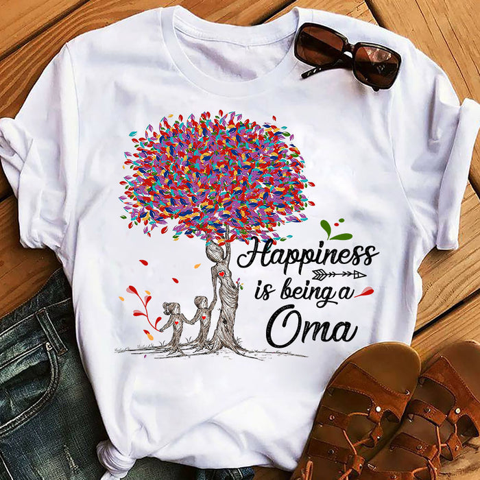 Colorful Tree Life Happiness Is Being A Oma Mothers Day Grandma Graphic Unisex T Shirt, Sweatshirt, Hoodie Size S - 5XL