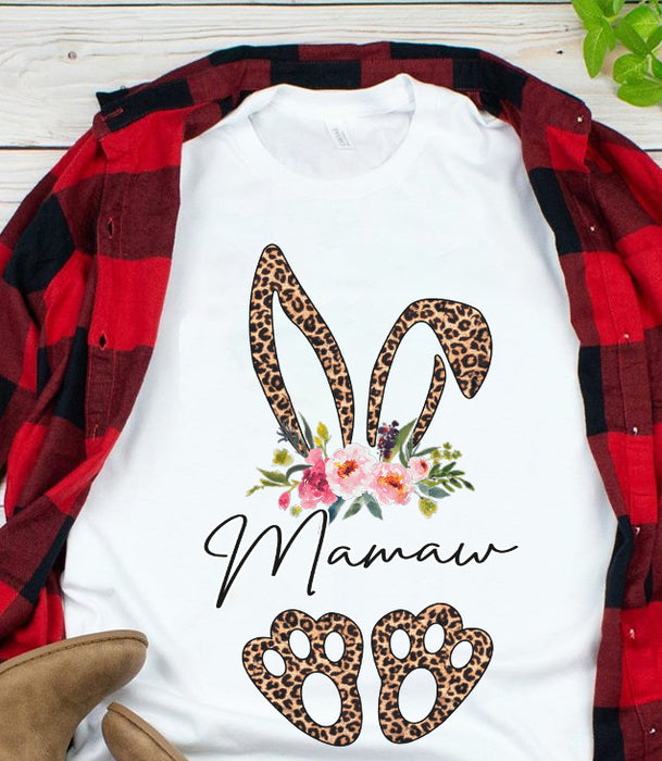 Bunny Easter Leopard Floral Grandma Mamaw Mothers Day Grandma Graphic Unisex T Shirt, Sweatshirt, Hoodie Size S - 5XL