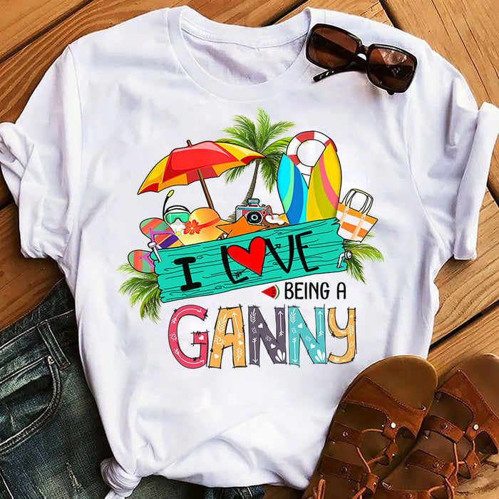 Summer Beach Love Being A Grandma Ganny Mother's Day Gift, Gift For Mom Graphic Unisex T Shirt, Sweatshirt, Hoodie Size S - 5XL