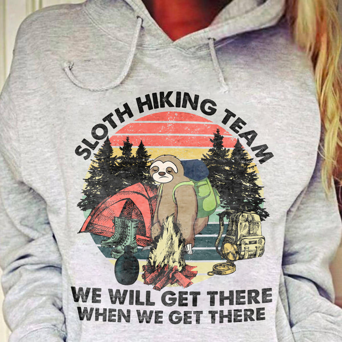 Sloth Hiking Team Graphic Unisex T Shirt, Sweatshirt, Hoodie Size S - 5XL