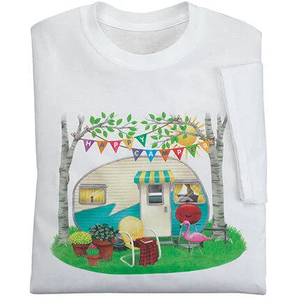 Camping Happy Camper  Graphic Unisex T Shirt, Sweatshirt, Hoodie Size S - 5XL