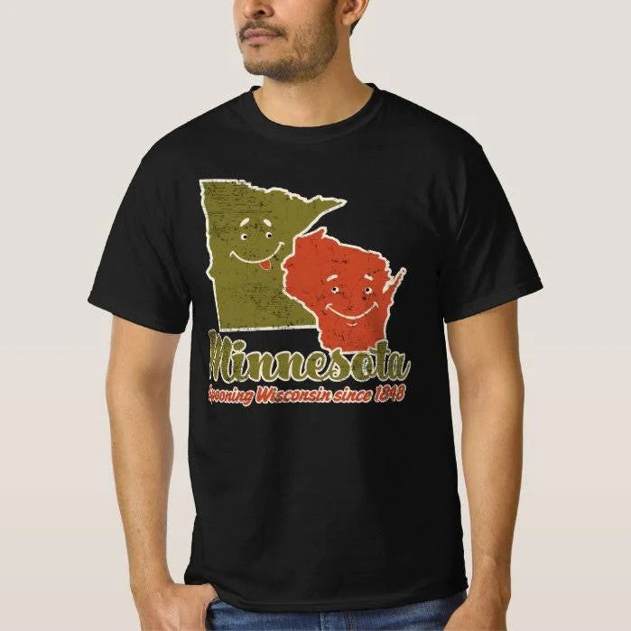 Minnesota Spooning Wisconsin Since 1848 Graphic Unisex T Shirt, Sweatshirt, Hoodie Size S - 5XL