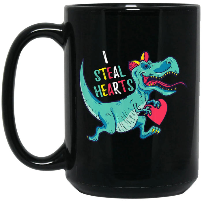 Dinosaur I Steal Hearts 11Oz, 15Oz Ceramic Mug