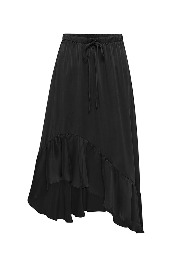 ASYMMETRIC RUFFLE SKIRT BLACK
