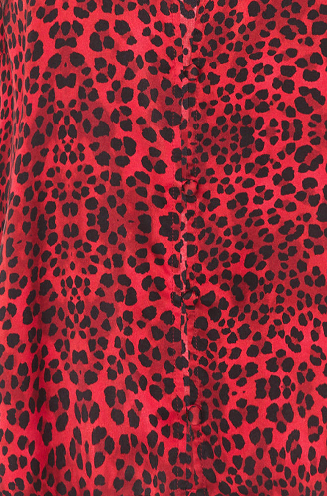 LONG BUTTON FRONT SHIRT DRESS RED LEOPARD