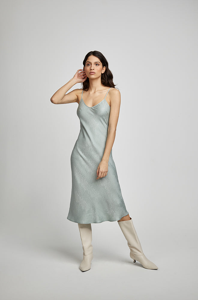 90S SILK SLIP DRESS EUCALYPTUS JACQUARD
