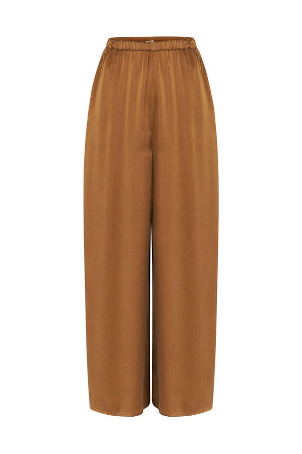 WIDE LEG PANT WITH PIPING CAMEL/WHITE