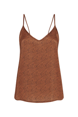 V NECK CAMI CINNAMON MICRO DOT