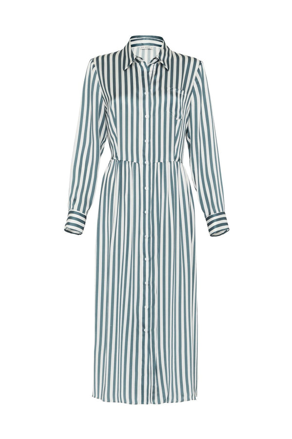 LONG BUTTON FRONT SHIRT DRESS STORM STRIPE