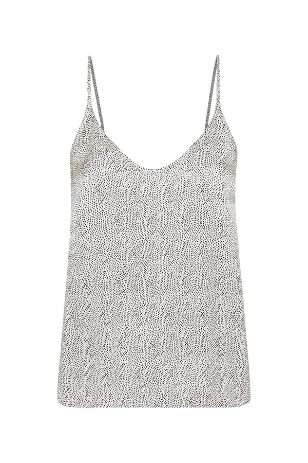 V NECK CAMI WHITE MICRO DOT