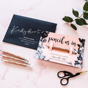 SAMPLE - Pencil Us In Save the Date with Blush Pink Floral Card