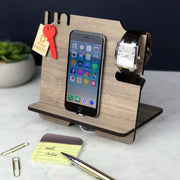Docking Station - iPhone Stand and Organizer – Wooden Walnut Mobile Phone Night Stand
