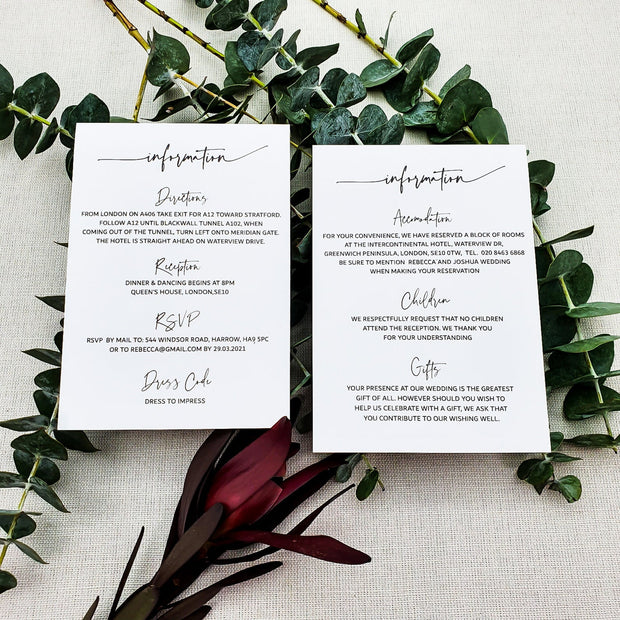 White Wedding Information Cards