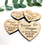 Elegant Wooden Heart Wedding Save the Date Magnets
