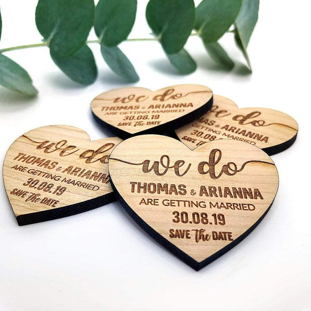 Beach Wedding Wooden Heart Wedding Save the Date Magnets