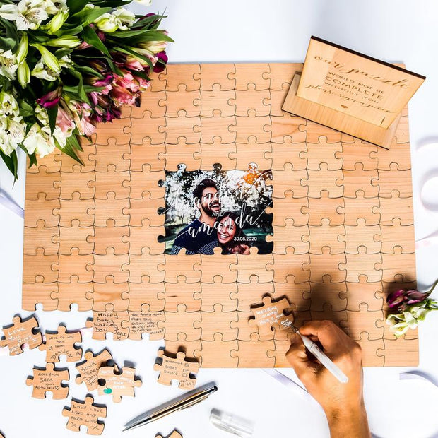 Customised Wedding Guestbook Puzzle with Photo