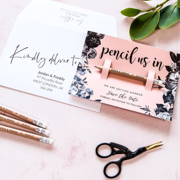 Personalised Floral Pencil Us in Save the Dates
