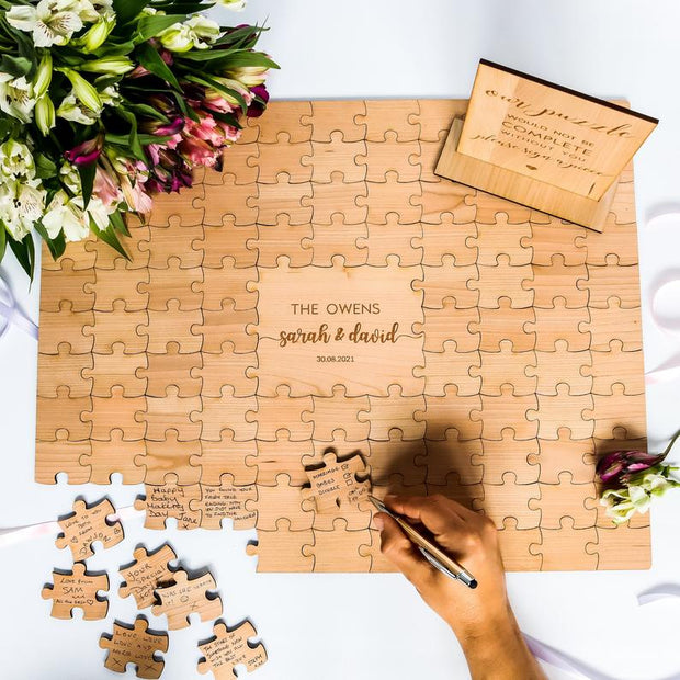 Wedding Guestbook Puzzle Alternative - Rustic Design