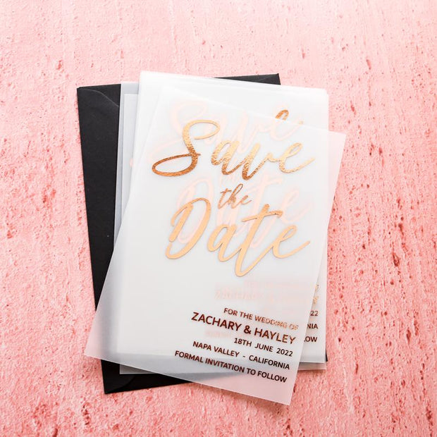 Foil Vellum Translucent Save the Date Calendar Cards