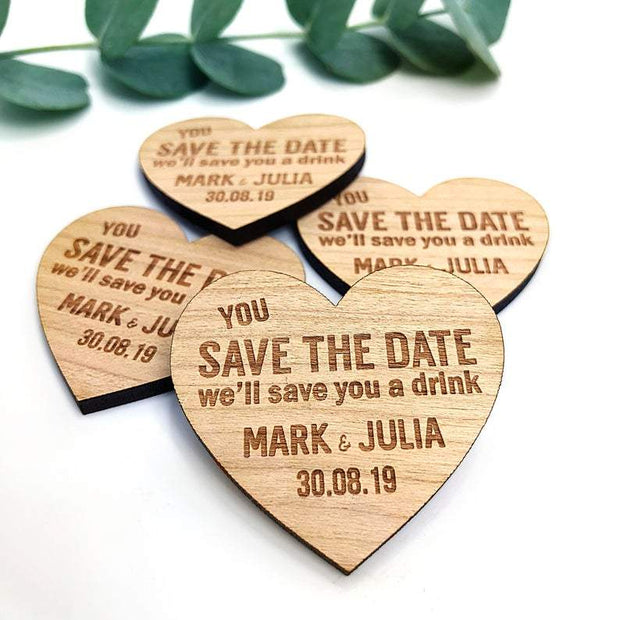 Save the Date Magnet and Botanical Cards - Black Envelope