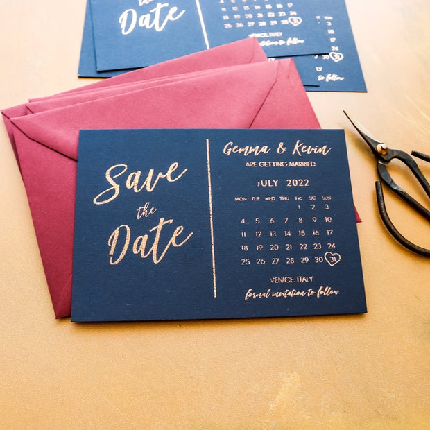 Save the Date Foil Calendar Cards Navy Blue