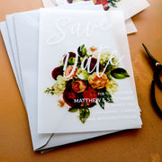 Modern White Ink and Floral Save the Dates
