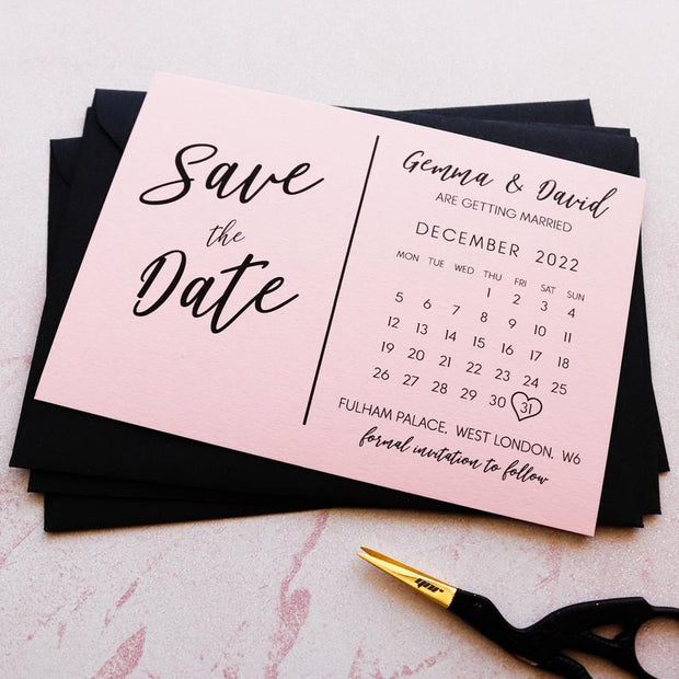 Classic Blush Pink Save the Date Invitations