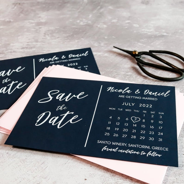 Modern Calendar Wedding Invites with White Ink