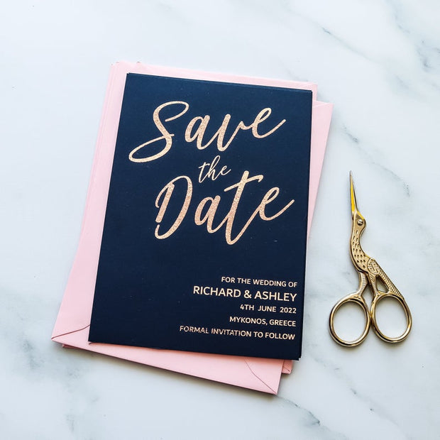 Foil Save the Date Calendar Cards Navy Blue