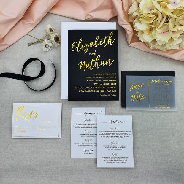 Foil Wedding RSVP Invitation Suite