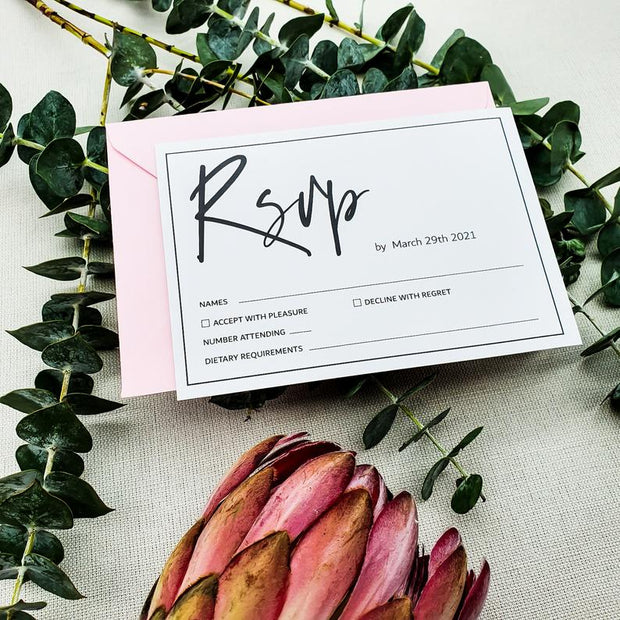 Minimalist Foil Wedding RSVP Invitation