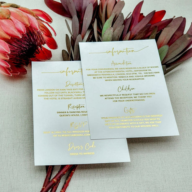 White Wedding Foil Information Cards