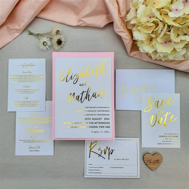White Wedding Invitation Cards with Gold Foil