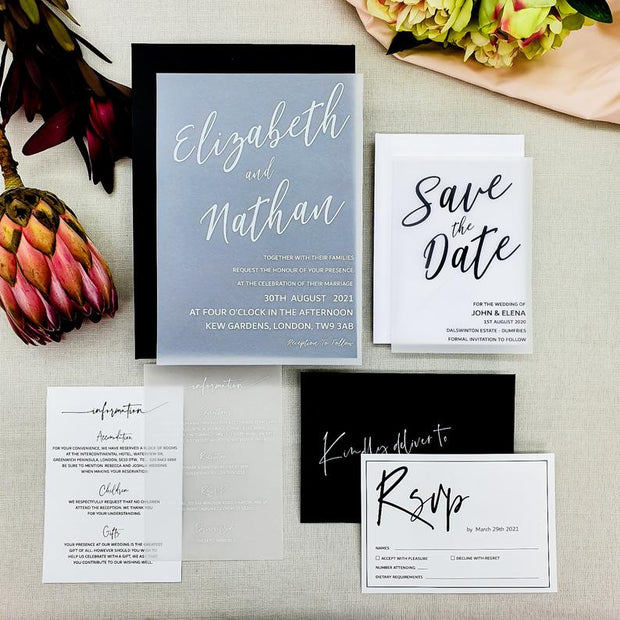 Modern Calligraphy Wedding Invitation