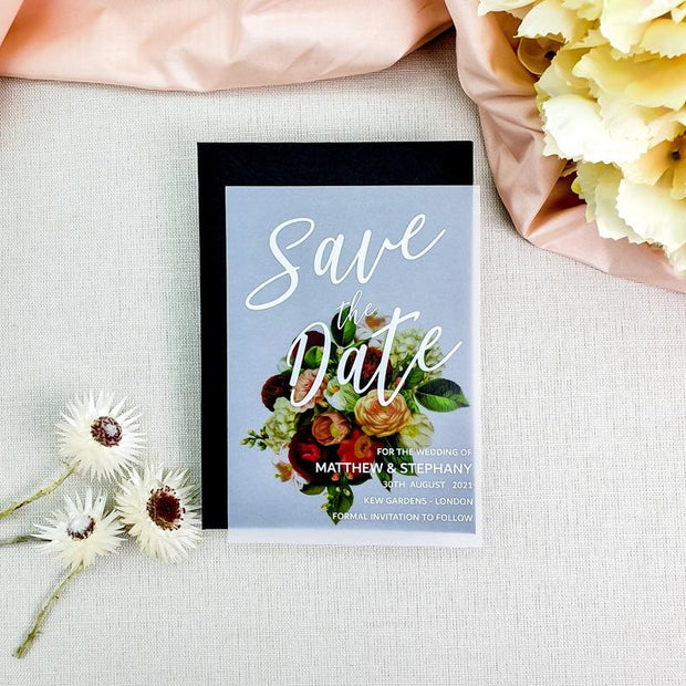Vellum Save the Dates Floral Cards