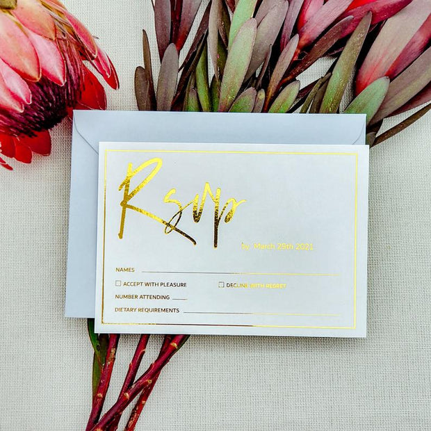 Foil Wedding RSVP Cards