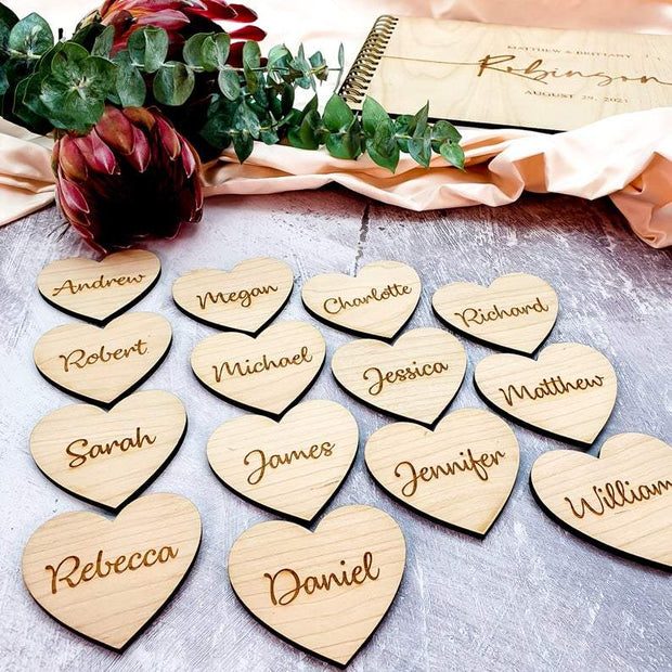 Personalised Wooden Wedding Name Places Script